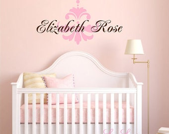 Name Wall Decal, Girls Name Wall Decals, Damask Decals, Baby Name Wall Decals, Nursery Decals