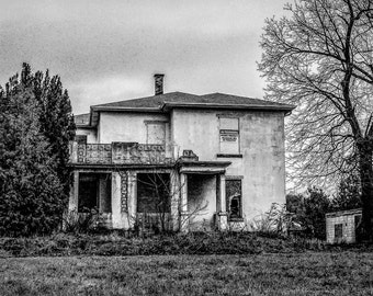 Haunted House Photography,Black and White Haunted House, Haunted House Digital Photo, B&W Haunted House Photography,Haunted