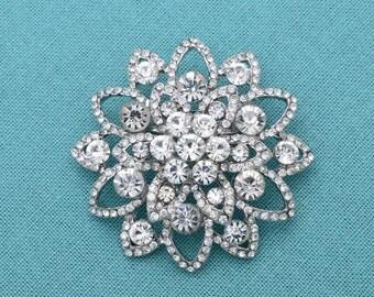 Silver Wedding Brooch Rhinestone Silver Crystal  Wedding Brooch Bridal Brooch Rhinestone Silver Brooch