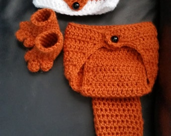 Crochet Newborn Fox Outfit - Baby Girl or Boy Woodland Costume - Photo Prop - Beanie Hat, Diaper Cover, and Booties. Handmade & Homemade