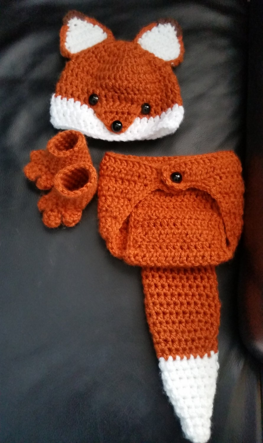 Crochet Newborn Fox Outfit Baby Girl or Boy Woodland Costume
