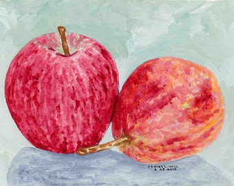 Apple and Pear Painting, Kitchen Art, Small Format Art, Red Delicious, Red Anjou