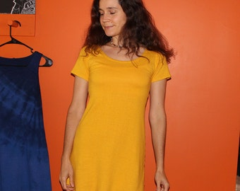 short sleeve hemp dress - 100% hemp and organic cotton - custom made order - hand dyed