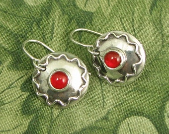 """Sterling and Carnelian """"Radiant 5"""" Earrings - circle - dainty - red"""