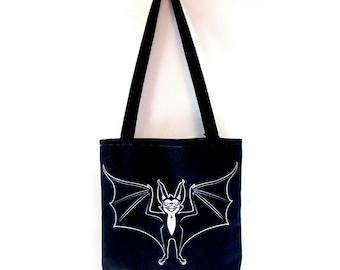 SALE - Tote Bag - Scary Bat -Printed tote bag with webbing handles