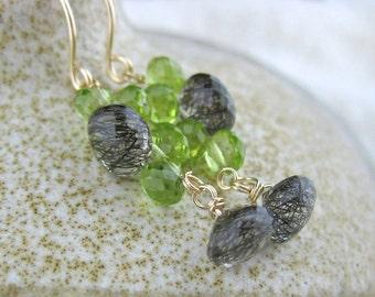 Black Green Gray Stone Earrings, Black Green Jewelry, Black Gray Jewelry, Wired Stone Earrings, Black Earrings, Black Jewelry