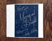 Merry & Bright: Letterpress Stationery set (flat cards and envelopes) dark blue, stary night, silver and gold holiday cards