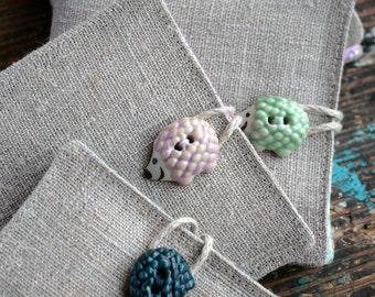 Small Linen Needle Book - ceramic hedgehog button