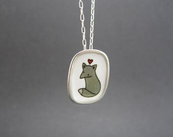 Fox Necklace - Sterling Silver and Vitreous Enamel Fox Pendant with Original Drawing