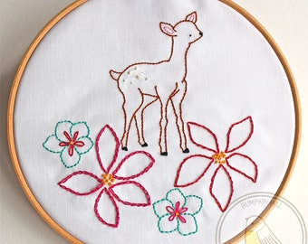 Hand Embroidery Pattern - Oh Deer Flowers - Deer PDF - Instant Download