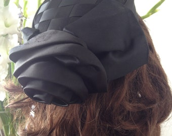 Black Satin Weave Rose Hat by Whittall and Shon