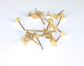 4mm flat pad gold plated ear studs with ear nuts, pick your amount, C193