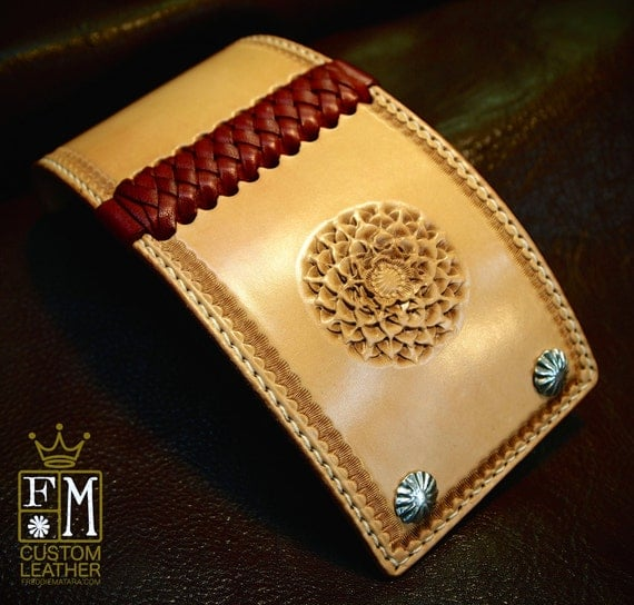 Leather cuff Bracelet American Western Saddle Lotus wristband Handstitched Braided Stamped Handcrafted for YOU in NYC by Freddie Matara!