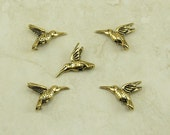 5 TierraCast Humming Bird Hummingbird Beads > Flower Garden Pollination - 22kt Gold Plated LEAD FREE pewter - International Shipping 5518