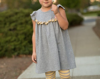 Girls Knit Fabric Dress Pattern - Tunic and Dress Length - Flutter Sleeves - PDF Sewing Pattern for Knits