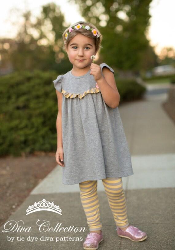 Girls Knit Fabric Dress Pattern Tunic and Dress Length