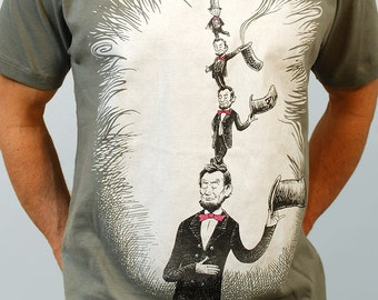Men's Funny Tshirt - Dr Seuss Shirt Parody - Abraham Lincoln Shirt - Abe in the Hat - Abe Lincoln