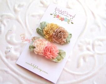 Newborn Baby K Snap | Alligator Clips / Itty Bitty Infant Clips / Toddler Girls Neutral Bow Barrettes / Fancy Shabby Chic Flower U PICK One