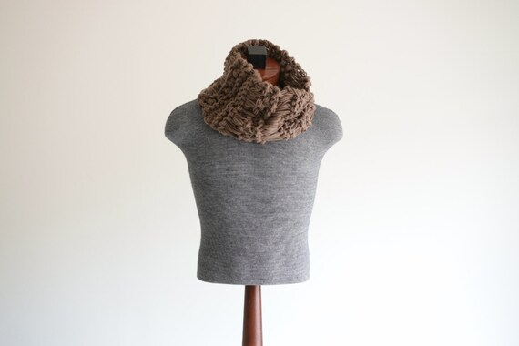 Manly Hand Knit Mens Scarf for Him, Mocha Brown Mens Scarf Brown Scarf for Men