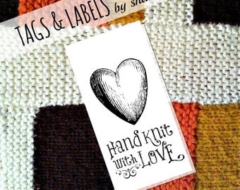 Printable PDF Tags or Labels - Hand Knit with Love