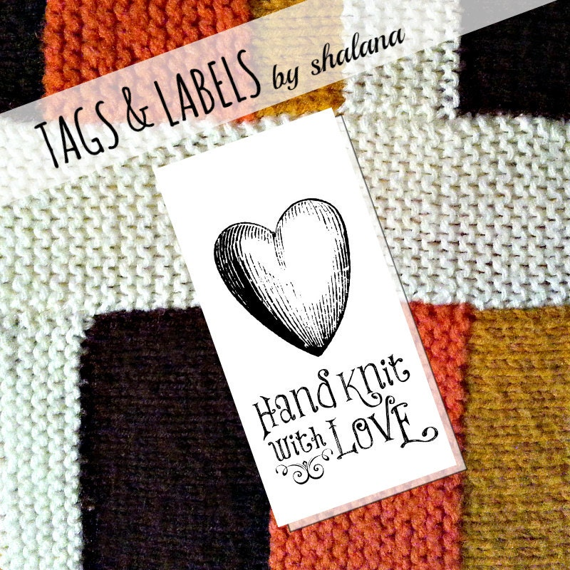 Printable pdf tags or labels hand knit with love for Hand knit labels