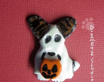 Cardigan Welsh Corgi Blue Merle Ghost Halloween Pendant Artist Hand-Made OOAK Necklace Dog Art Jewelry Necklace A1