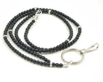 Black Pearl Lanyard,  Beaded ID Badge Lanyard