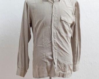 Men's Shirt / Vintage Casual Plaid Button-Down Shirt / Size Large / Brown