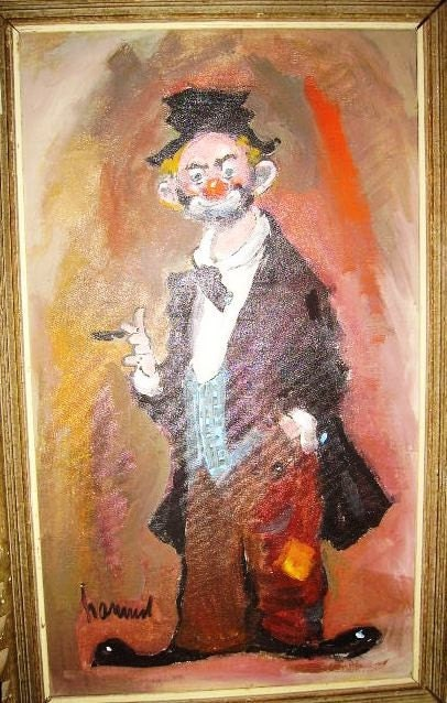 1960 S Clown Oil Painting Signed Oil Painting Looks Like