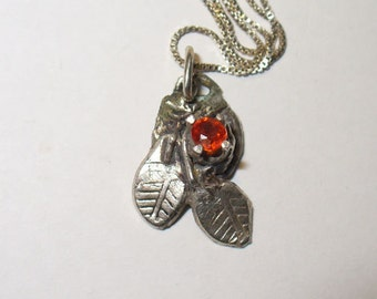 Ruby Pendant Necklace - Genuine Natural Gemstone in Unique Fine Silver Artisan Design - Sterling Box Chain