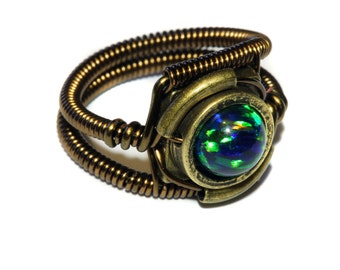 Steampunk Jewelry - Ring - Black LAB created OPAL
