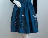 "Vintage Evening Dress Liz Claiborne Taffeta Velvet Sequin Prom Dress 35"" Bust Blue Black Retro Small UK 10 Size Small Cocktail Dress 1990s"