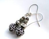 Silver drop earrings, long crystal earrings, pyrite stone earrings, cats eye  gemstone earrings, womens handmade beaded jewelry by j.wray