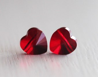 2 Swarovski Crystal Siam Heart Bead 8mm