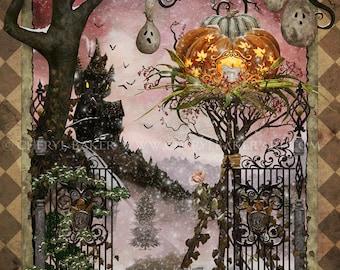 Whimsical Art - Halloween Art - Pumpkin Art - Halloween Decoration - Halloween Witch Art Print - Wicked Witch Print - Halloween Decor