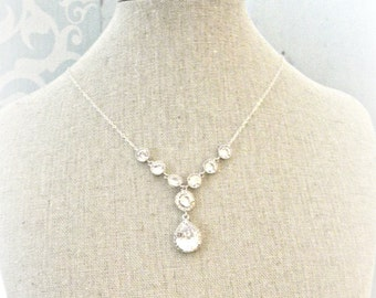 Rhinestone Wedding Necklace, CZ Cubic Zirconia Bridal Necklace, Wedding Jewelry, Y Front Design Sterling Silver Chain
