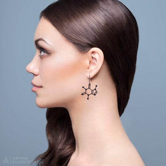 Caffeine Molecule Earrings - Matte Black