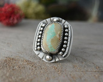Turquoise Ring. Southwestern Ring. Natural Royston Ribbon Turquoise Stone Sterling Silver Ring. Big Statement Ring. Size 6.5