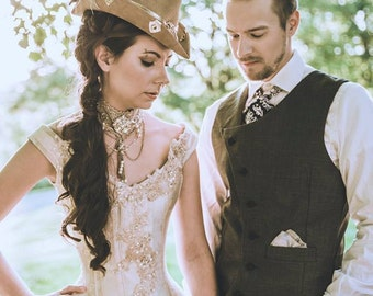 Steampunk Wedding Dress- Victorian Beauty- Off the Shoulder Gown- Corset Top and Bustle Skirt- Custom to Order Petite to Plus