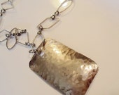 Antique HAMMERED SILVER RECTANGLE Pendant on Geometric chain