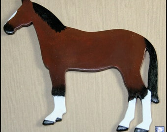 Horse Pony Magnet Bay Brown OOAK Handmade Wooden Kitchen Office Refrigerator Fridge