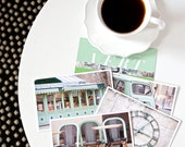 SALE Paris Postcard Set Green 4x6 Print, Paris Print Art Postcards