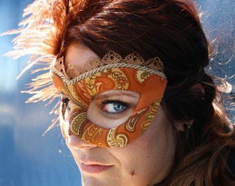 Florence - Steampunk Victorian Masquerade Ball Mask in Autumn Colors