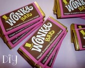 Wonka Bar wrapper template Wonka Bar favors Willy Wonka birthday party Chocolate Factory party printable candy bar wrapper DiY editable PDF