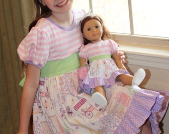 Avonlea Dress for DOLLY PDF Sewing Pattern Sized for 15 and 18 inch dolls
