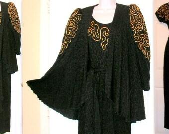 Vintage Jumpsuit and Jacket Set - Black Lined Lace - Gold Braid Citrine Rhinestones