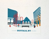 Buffalo, NY Main Street Print, Gift for Him or Her, 15 gift
