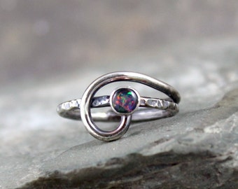 Opal Ring - Mosaic Opal Sterling Silver Ring - October Birthstone Rings - Rustic - Ready to Ship Size 6 - Made in Canada