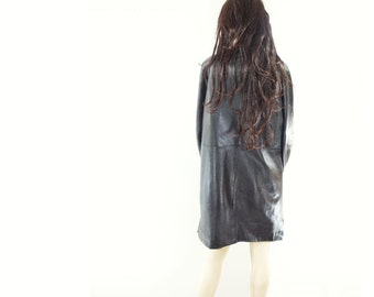 Leather Trench Coat Warm Black Leather Black Leather Coat Black Trench Coat 80s Faux Fur Lined Leather Coat German Leather Zip Lining m