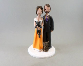 Bride & Groom with 2 Cats Customized Wedding Cake Topper